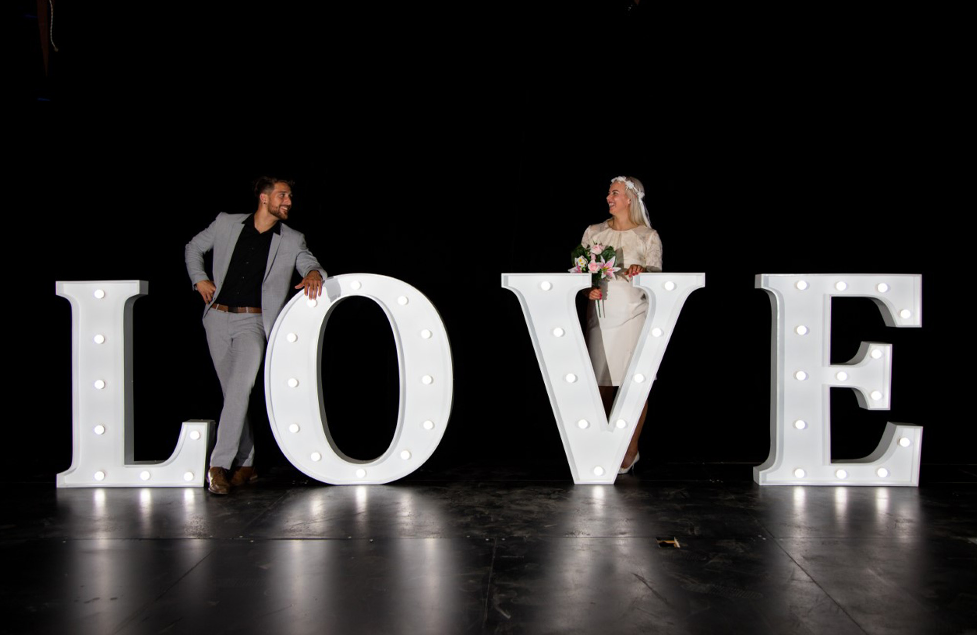Front Row wedding decorations for hire - LED Letters